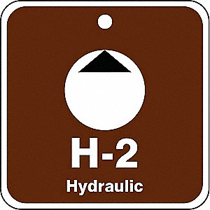 "Energy Source ID Tag, Plastic, H-2 Hydraulic, 2-1/2"" x 2-1/2"", 1 EA"