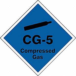 "Energy Source ID Tag, Vinyl, CG-5 Compressed Gas, 2-1/2"" x 2-1/2"", 1 EA"