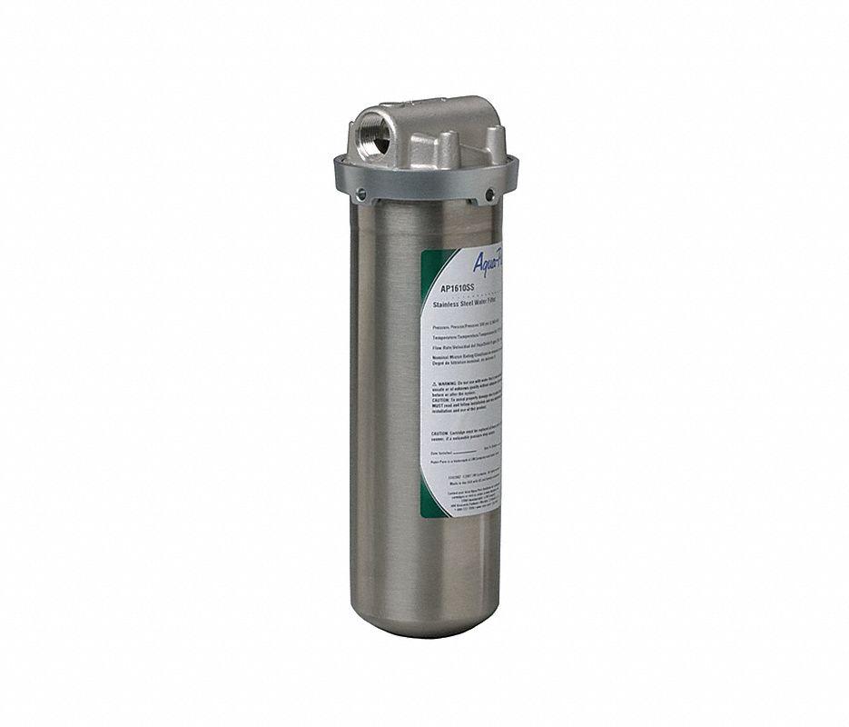 "Cartridge Water Filter Housing, 304 Stainless Steel, 3/4"" NPT"