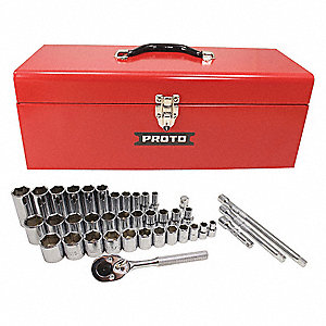 "3/8"", 1/2"" Chrome Socket Set, Number of Pieces: 39"