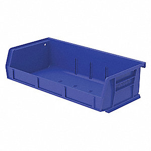 "Hang and Stack Bin, Blue, 5-7/16"" Outside Length, 11"" Outside Width, 3"" Outside Height"