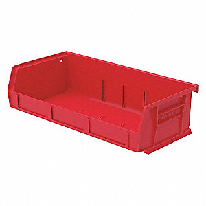 "Hang and Stack Bin,Red,4-3/4"" Inside L"