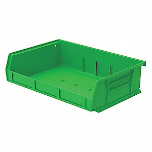 "Hang and Stack Bin, Green, 5-7/16"" Outside Length, 11"" Outside Width, 3"" Outside Height"