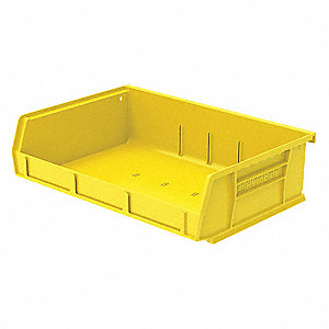 "Hang and Stack Bin, Yellow, 5-7/16"" Outside Length, 11"" Outside Width, 3"" Outside Height"
