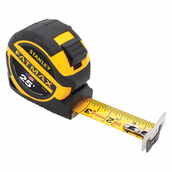 Stanley 25 Ft Steel Sae Tape Measure Yellow Black