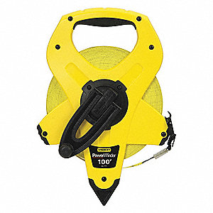 100 ft./30mm Fiberglass SAE/Metric Long Tape Measure, Yellow/Black