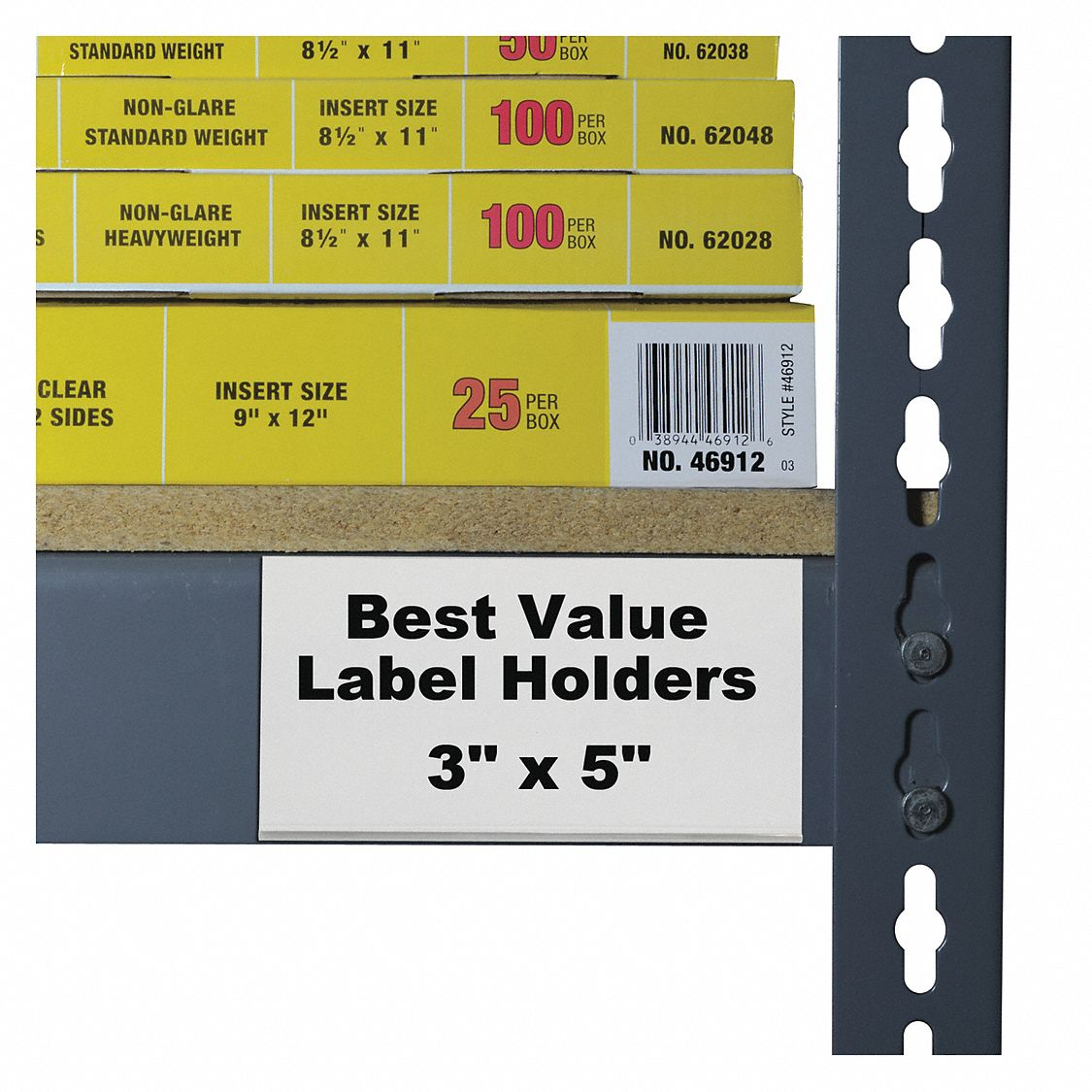 Plastic Label Holder, Clear, 3 inL x 5 inW, 50 PK