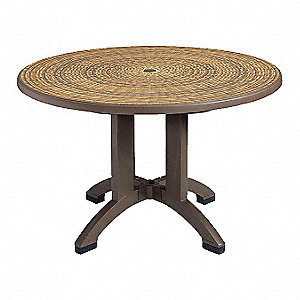 "Resin Pedestal Table, Espresso, 48"" Width, 48"" Depth , 29-1/2"" Height"