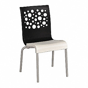 "Chair,Black/White,Stackable,35-1/2""H"