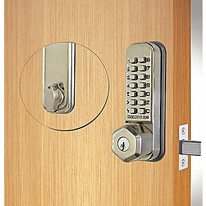 Mechanical Push Button Lockset, 13 Button, Vandal Resistant, Entry with Key Override, Stainless Stee