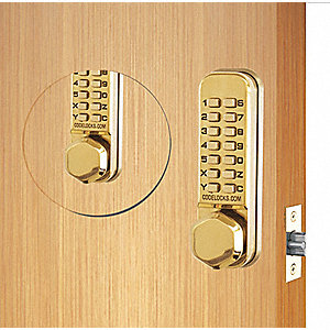 Mechanical Lockset,Polished Brass,Knob