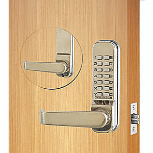 Mechanical Push Button Lockset, 13 Button, Vandal Resistant, Entry, Stainless Steel