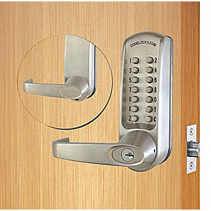 Mechanical Push Button Lockset, 13 Button, Vandal Resistant, Entry, Brushed Steel
