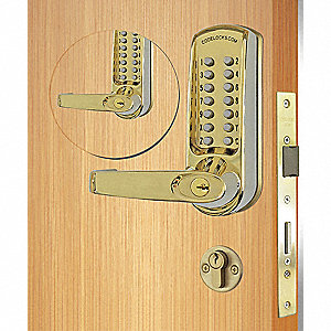 Mechanical Push Button Lockset, 13 Button, Vandal Resistant, Entry, Polished Brass