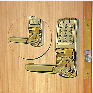 Electronic Key Lock, Polished Brass, Classroom or Store Room with Key Override