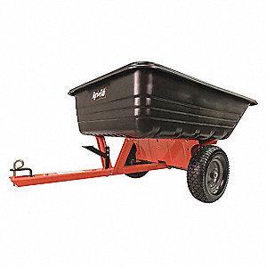"2 Wheel Black HDPE Trailer Cart, 17.0 cu. ft., 72""L x 42""W x 32""H"