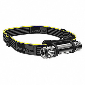 LED Headlamp, Aluminum, 50,000 hr. Lamp Life, Maximum Lumens Output: 120, Black