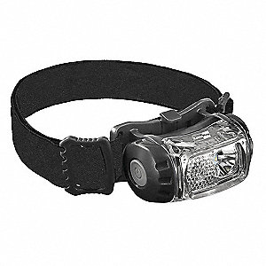 LED Headlamp, Plastic, 50,000 hr. Lamp Life, Maximum Lumens Output: 200, Black