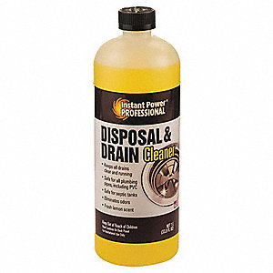 Disposal and Drain Cleaner, 1L Bottle, Unscented Liquid, Ready To Use, 1 EA