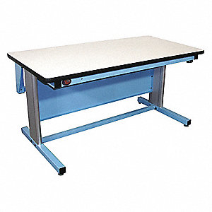 "Electric Workbench, ESD Laminate, 30"" Depth, 30"" to 42"" Height, 60"" Width, 330 lb. Load Capacity"