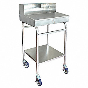 "Mobile Workstand, Stainless Steel, 23-1/4"" Depth, 49-3/8"" Height, 24-3/8"" Width,300 lb. Load Capacit"