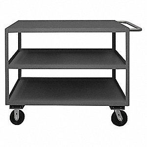 Steel Flat Handle Utility Cart, 3000 lb. Load Capacity, Number of Shelves: 3