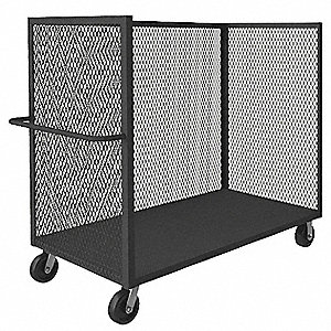 "66""L x 24-1/4""W x 57""H Gray Welded Steel 3 Sided Mesh Stock Cart, 2400 lb. Load Capacity, Number of"