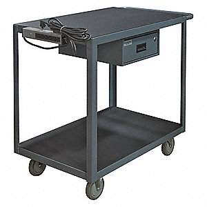 "37-5/8""H x 24""W x 36""D Instrument Cart, 1200 lb. Load Capacity, Number of Shelves: 2"