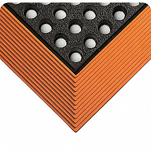 Drainage Mat, Black with Orange Border, 4 ft. x 3 ft., Grease Resistant Rubber, 1 EA