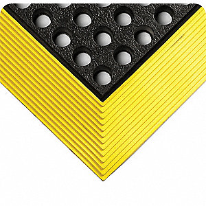 "Drainage Mat L, 3 ft. W, 5/8"" Thick, Rectangle, Black with Yellow Border"