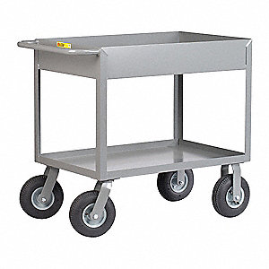 Steel Flat Handle Deep Shelf Utility Cart, 1200 lb. Load Capacity, Number of Shelves: 2