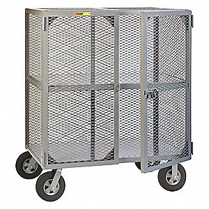 "49""L x 33""W x 60""H Gray Steel Security Cart, 1500 lb. Load Capacity"