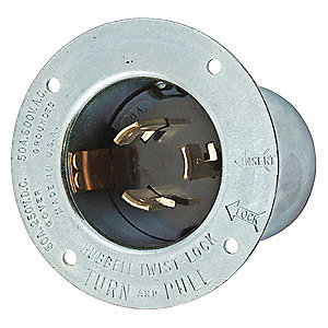 Silver Flanged Locking Inlet, 50 Amps, 600VAC/250VDC Voltage, NEMA Configuration: Non-NEMA