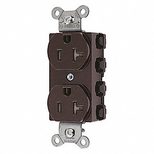 20A Commercial Environments Receptacle, Brown; Tamper Resistant: Yes