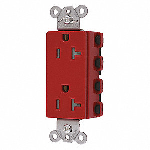 Receptacle,Red,0.5 HP,20A,3 Wires,Nylon