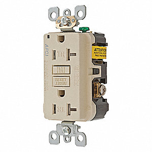 20A Commercial Environments Arc Fault Receptacle, Ivory; Tamper Resistant: Yes