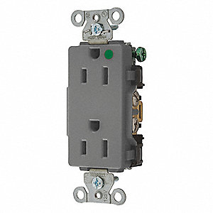 15A Commercial Environments Receptacle, Gray; Tamper Resistant: No