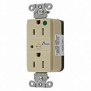 Receptacle,Ivory,3 Wires,2 Poles,125VAC