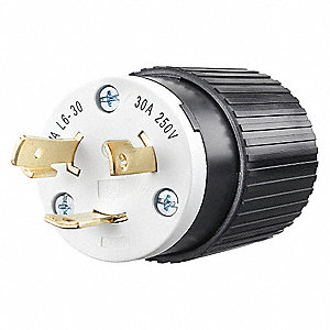 Locking Plug, 30 Amps, 250VAC Voltage, NEMA Configuration: L6-30P, Number of Poles: 2
