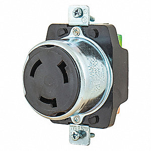 Locking Receptacle,Blk,600VAC/250VDC,50A