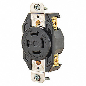 Black Locking Receptacle, 20 Amps, 480VAC Voltage, NEMA Configuration: L16-20R