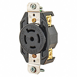 Black Locking Receptacle, 20 Amps, 120/208VAC Voltage, NEMA Configuration: L21-20R