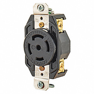 Locking Receptacle,Black,120/208VAC,30A