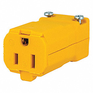 15 Amp Industrial Grade Hinged Straight Blade Connector, 5-15R NEMA Configuration, Yellow