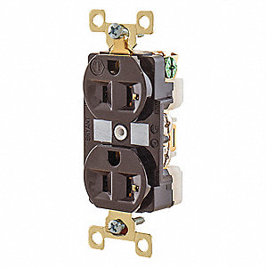 20A Heavy Use Industrial/Harsh Environments Receptacle, Brown&#x3b; Tamper Resistant: No