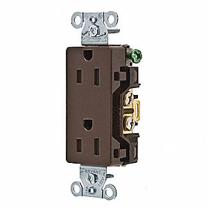 15A Commercial Environments Receptacle, Brown; Tamper Resistant: No