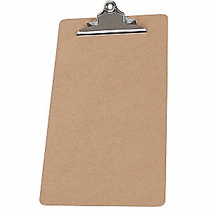 "Brown Hardboard Clipboard, Legal File Size, 9"" W x 15-1/2"" H, 1/2"" Clip Capacity, 1 EA"