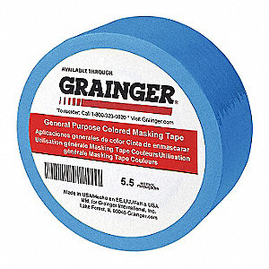 "Paper Masking Tape, Rubber Tape Adhesive, 5.50 mil Thick, 1/4"" X 60 yd., Blue, 144 PK"