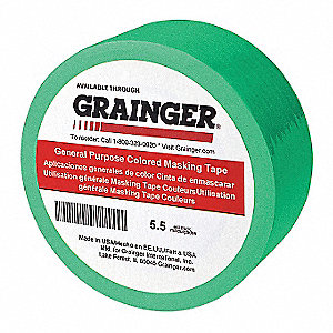 "Paper Masking Tape, Rubber Tape Adhesive, 5.50 mil Thick, 1"" X 60 yd., Green, 36 PK"