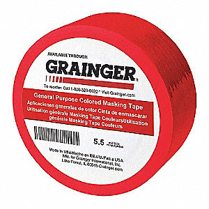 "Paper Masking Tape, Rubber Tape Adhesive, 5.50 mil Thick, 1/4"" X 60 yd., Red, 144 PK"